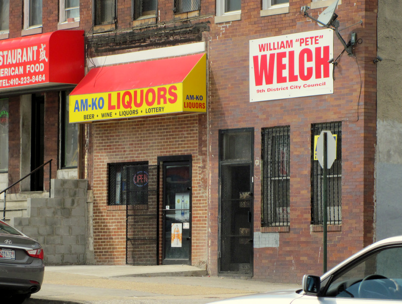 The councilman's name is splashed alongside liquor stores in his district. This one is at 2802 Edmondson Avenue. (Photo by Mark Reutter)