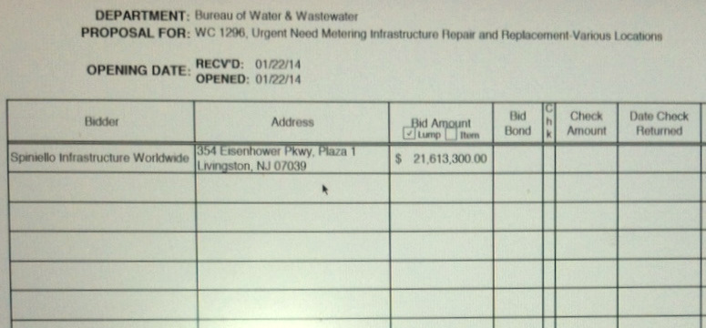 Only one bid was received for the metering repair and replacement contract. (Board of Estimates bid sheet)