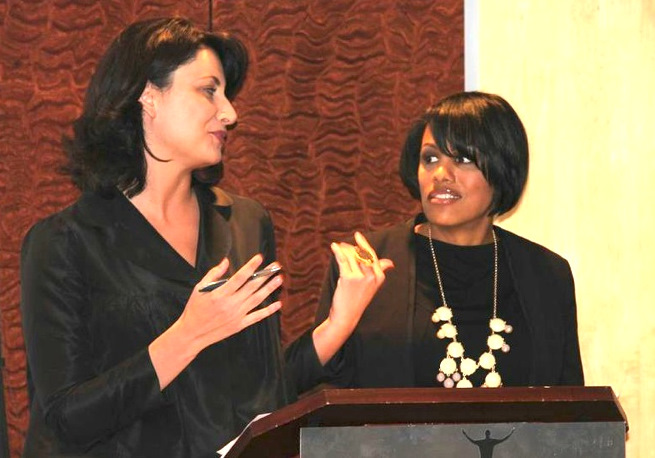 Kaliope Parthemos and Mayor Rawlings-Blake share the podium at a recent event at the Reginald Lewis Museum. (Citybizlist)