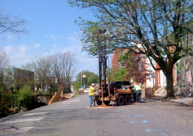 Engineers drill to assess soil stability on 26th Street. (Photo by Melody Simmon)