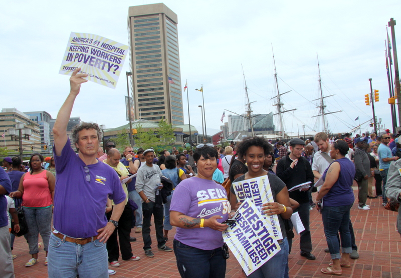 A scene from the Mother's Day weekend rally for Johns Hopkins Hospital service workers seeking better pay. (Photo by Fern Shen)