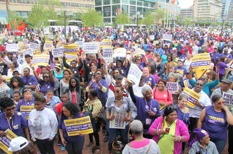 Joined by union supporters from Massachusetts, D.C. and New York, Johns Hopkins Hospital service workers rallied for higher pay in Baltimore. (Photo by Fern Shen)