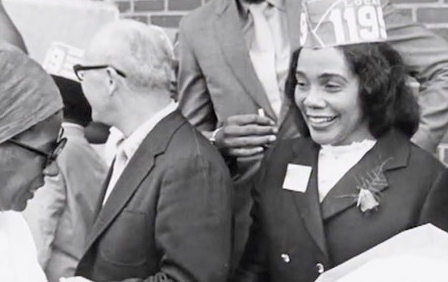 Coretta Scott King in Baltimore in 1969 to help Johns Hopkins Hospital workers organizing to join the 1199 health care workers' union. (Photo credit: 1199SEIU)