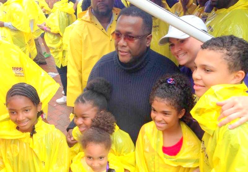 Wendell Pierce, actor and founder of the New Orleans-based Sterling Farms grocery store chain, in Baltimore yesterday. (1199SEIU Facebook)
