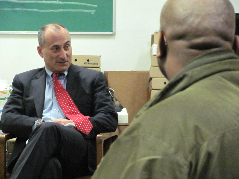 Gregg Bernstein talked (and talked) about his administrative plans during a meeting with residents of crime-impacted Westport in 2012. (Photo by Mark Reutter, 2012)
