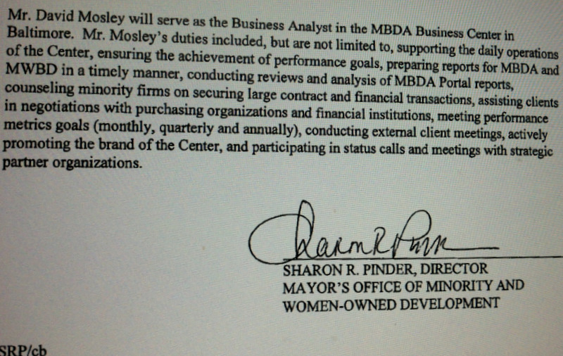 In this city document, Sharon Pinder signs off on the duties of her next-door neighbor at the MBDA Business Center.