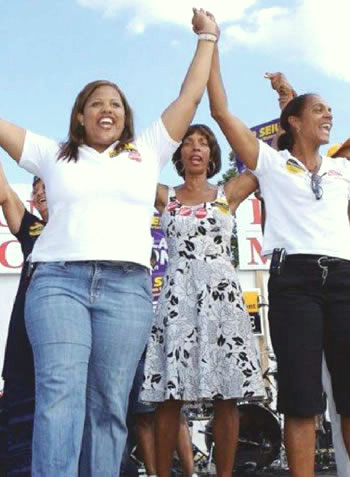 Rawlings-Blake at a political rally in 2007 with state Sen. Catherine E. Pugh (center) and future mayor Sheila Dixon. (Brew file photo)