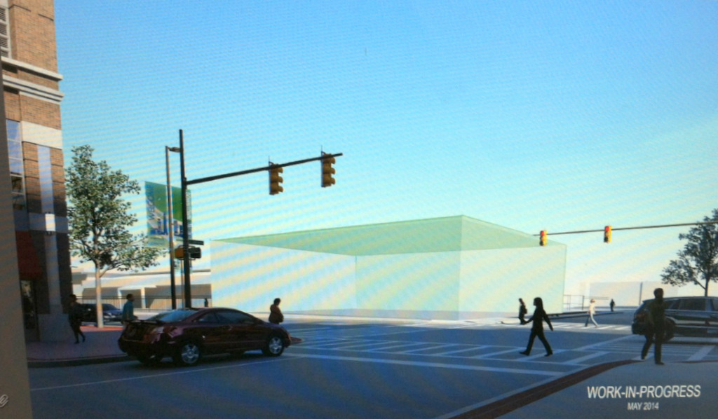 A preliminary sketch of the entrance to the Red Line station at Exeter and Fleet streets (green box). A Whole Foods grocery store is currently located kitycorner on the station. (MTA)