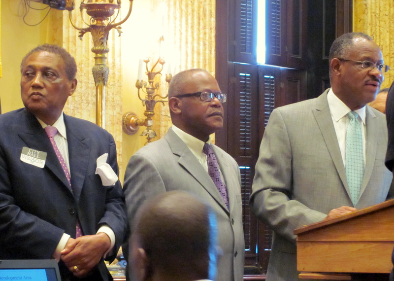 Arnold Jolivet appeared last year with Dr. Alvin C. Hathaway Sr., pastor of Union Baptist Church, and Councilman Carl Stokes to urge Harbor Point developer Michael Beatty to provide benefits to Perkins public housing residents impacted by his project. (Photo by Mark Reutter)