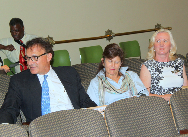 Attorney John Pica with licensee Marion Winik, wait their turn to come before the board. (Photo by Fern Shen)