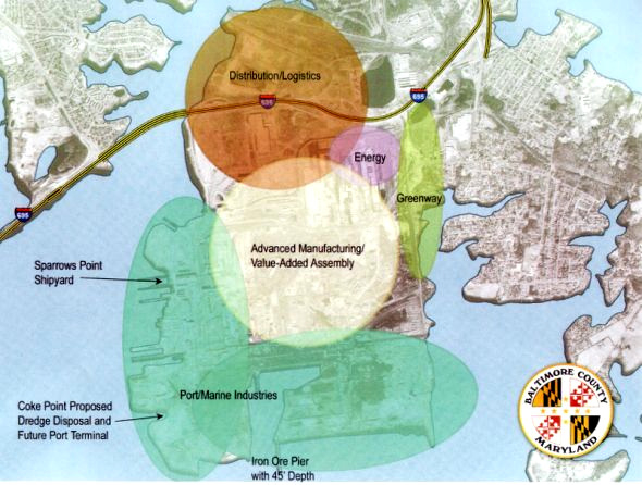 Recommended future uses of the Sparrows Point peninsula proposed by the Sparrows Point Partnership. (Baltimore County Development Office)