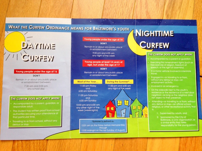 Informational pamphlet on Baltimore's newly revised youth curfew.