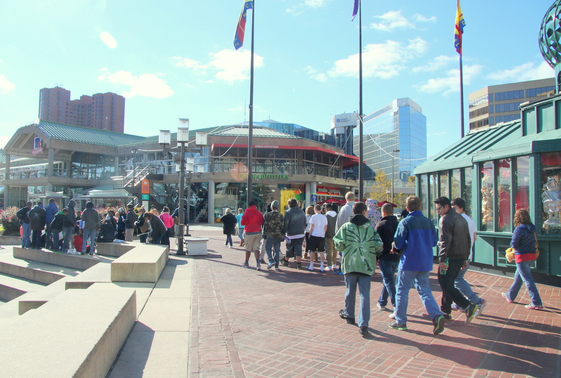 Crowd at the inner Harbor earlier this year. (Photo by Fern Shen)