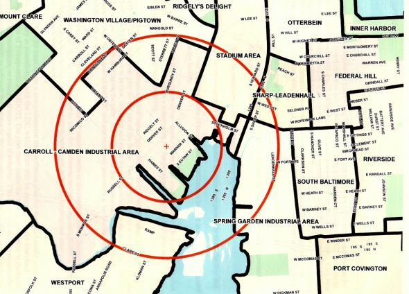 Map shows the communities surrounding Horseshoe Casino, including Westport (south), Washington Village/Pigtown (northwest), Ridgely's Delight (north), Sharp-Leadenhall and Federal Hill (northeast), and South Baltimore (east).
