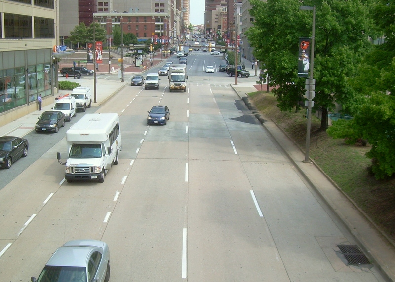 Does five-lane Light Street really cry out for three more lanes? (Photo by Gerald Neily)