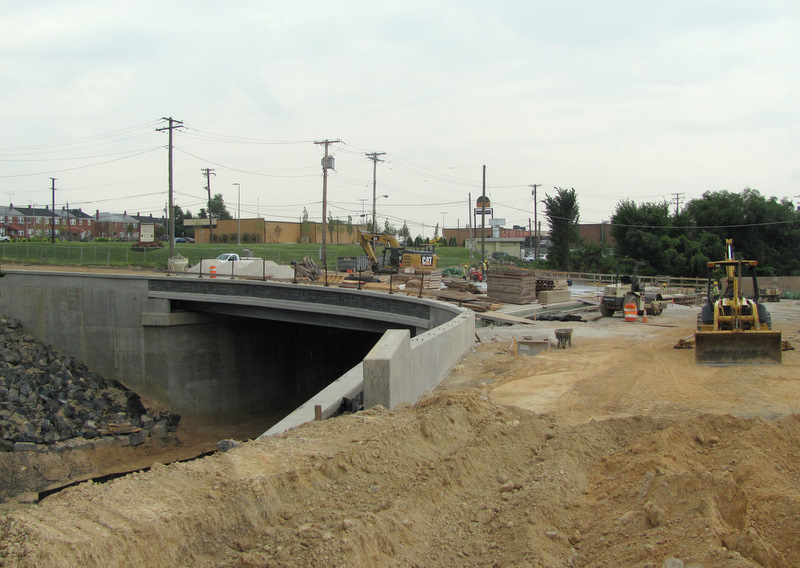 The city and CSX are  facing heavy cost overruns on the still-uncompleted Sinclair Lane Bridge that crosses the same CSX line involved in the 26th Street wall collapse. (Photo by Mark Reutter)
