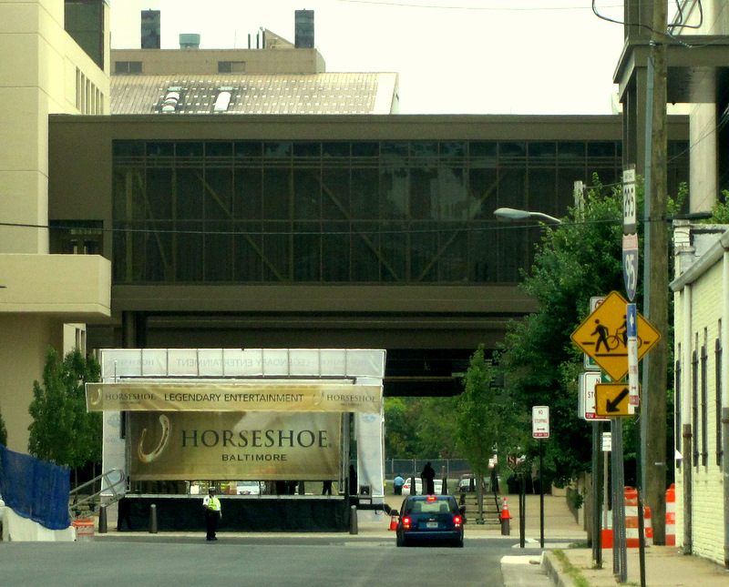 Horseshoe Casino has completely rebuilt the Warner street bed to accommodate casino visitors. This shows the structures in and over the street, looking south from Worcester Street. (Photo by Mark Reutter)