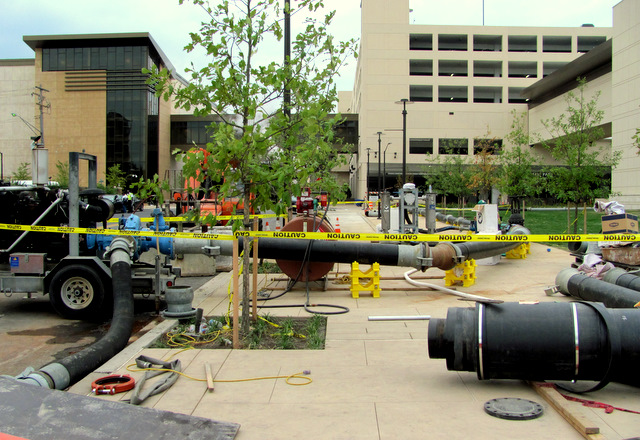 The temporary steam line connects to the city's system at Haines Street one block south of the casino. (Photo by Mark Reutter)