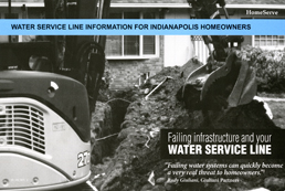 In a recent mailer to homeowners in Indianapolis, Ind., HomeServe had an ominous black-and-white picture of a backhoe tearing up a front yard and a quote by company consultant (and former Neww Yokr City mayor) Rudy Guiliani,