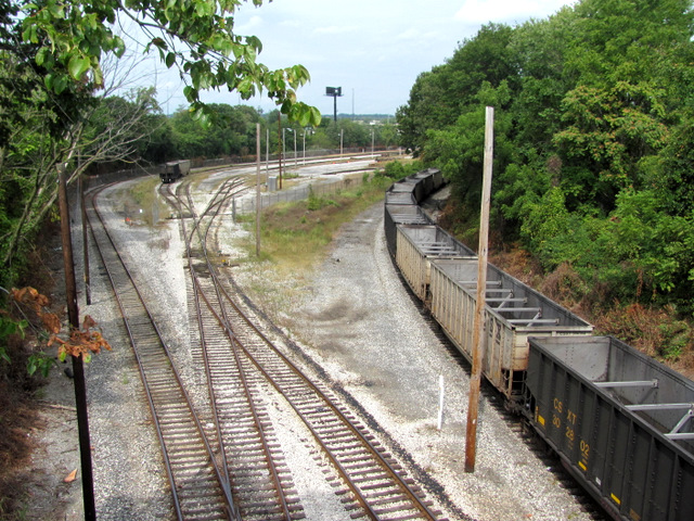 CSX's Mt. Clare Yard in Morrell Park is now mostly used to store coal trains. (Photo by Mark Reutter)