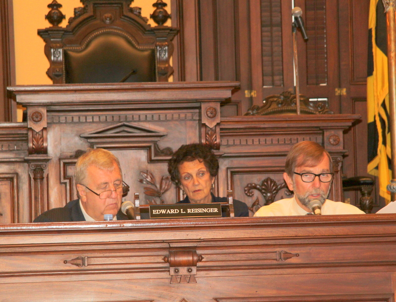 Councilmembers Ed Reisinger, Rikki Spector and Jim Kraft all voted in favor of the 511 S. Caroline rezoning. (Photo by Fern Shen)