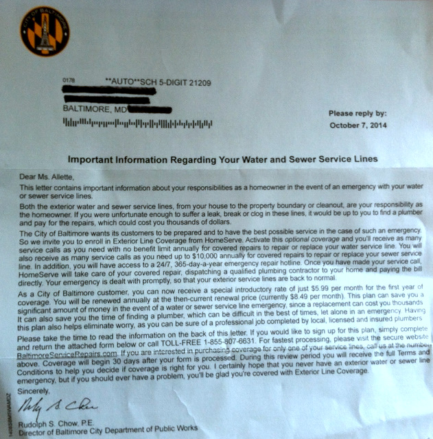 Rudy Chow letter to residents encouraging them to get water and sewer line protection from HomeServe.