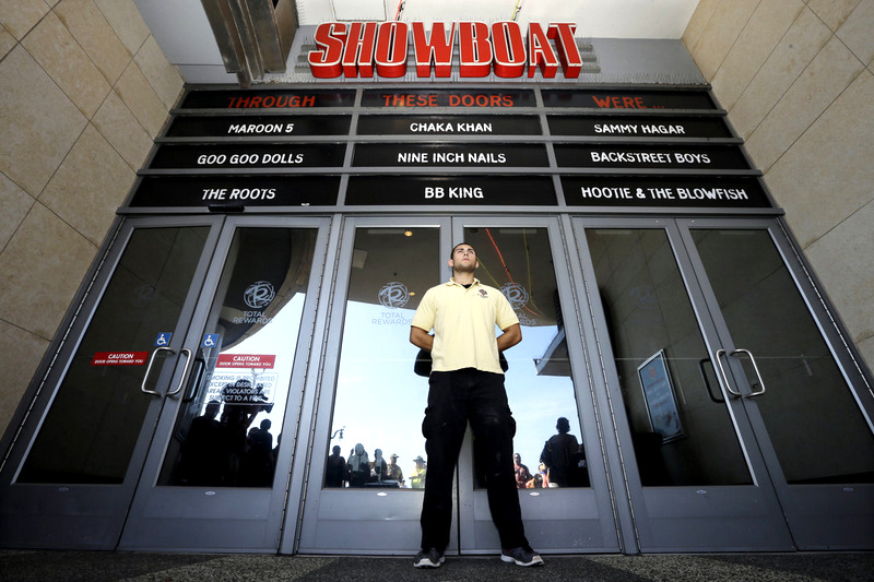 A guard stands guard at the Showboat Casino, which Caesars closed on August 31. The company remains the largest casino owner in AC with Bally's, Caesars and Harrah's. (Mel Evans, AP)
