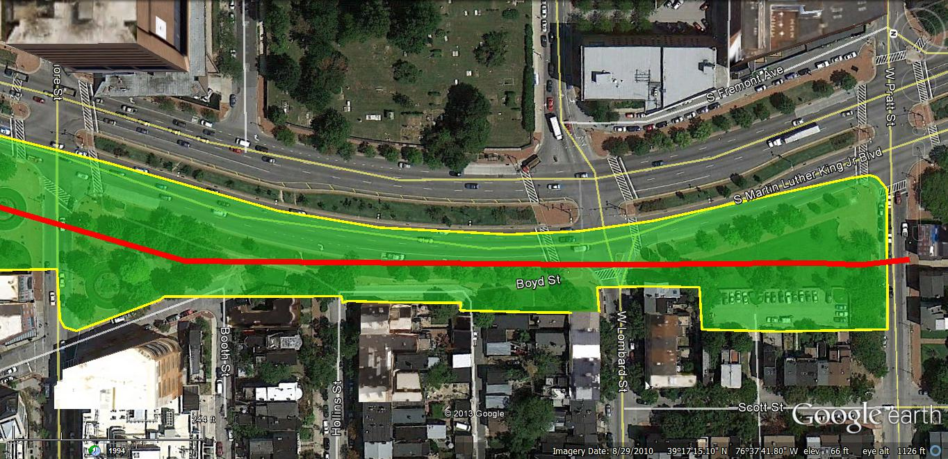 The original plan to build an expressway in the MLK Boulevard corridor leftover land along the western periphery of the present roadway. Turning this land into an active park would reduce the barrier effect of the roadway. (Google Earth)