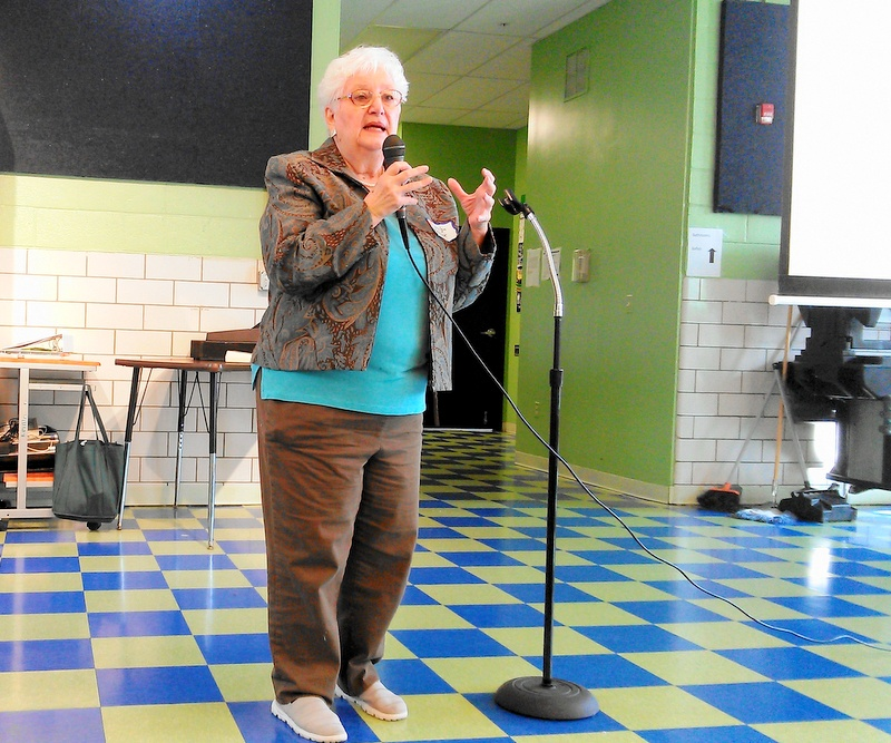 Carolyn Krysiak encouraged recent immigrants to become engaged in their communities. (Photo by Danielle Sweeney.)