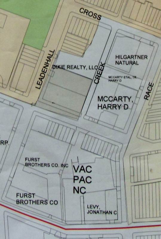 Caves Valley plans to acquire all of the land shown in white between Leadenhall and Race streets.