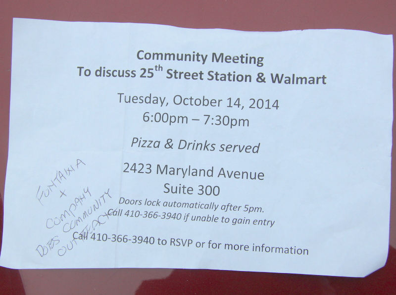 Flyers invited residents to a pizza party