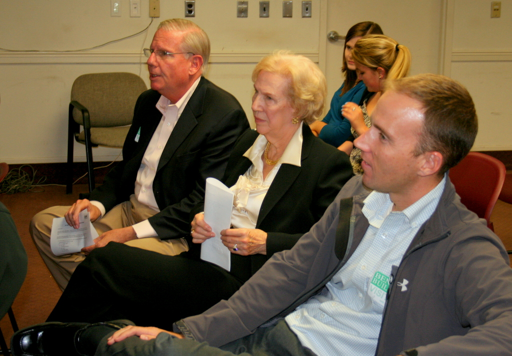 Charles Duff, Eva Higgins and John Molino listen to DOT presentation on a switch to two-way for St. Paul and Calvert streets. (Photo by Danielle Sweeney)