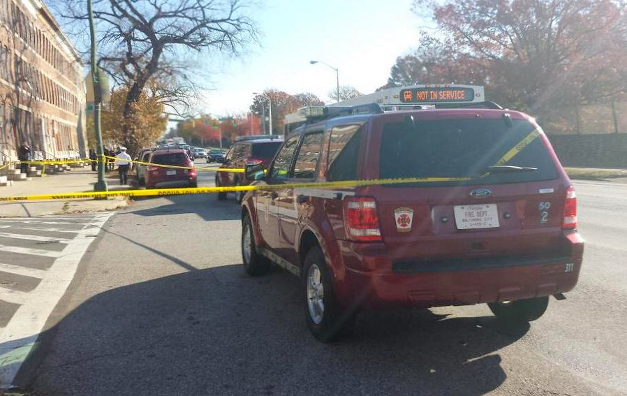 Photo of abandoned fire vehicle on North Avenue, posted by Fox 45's Jed Gamber, tweeted shortly before fire officials' called news conference.