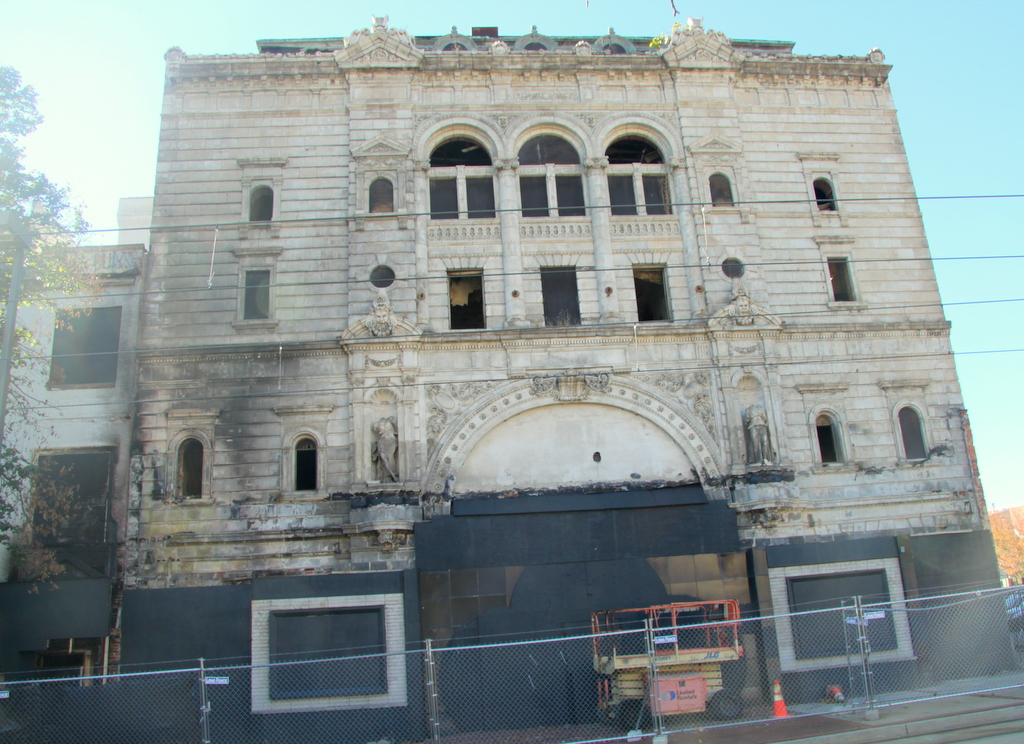 The historic, but badly deteriorating, Mayfair Theatre was damaged by the Sept. 24 fire in the building next door. (Photo by Fern Shen)