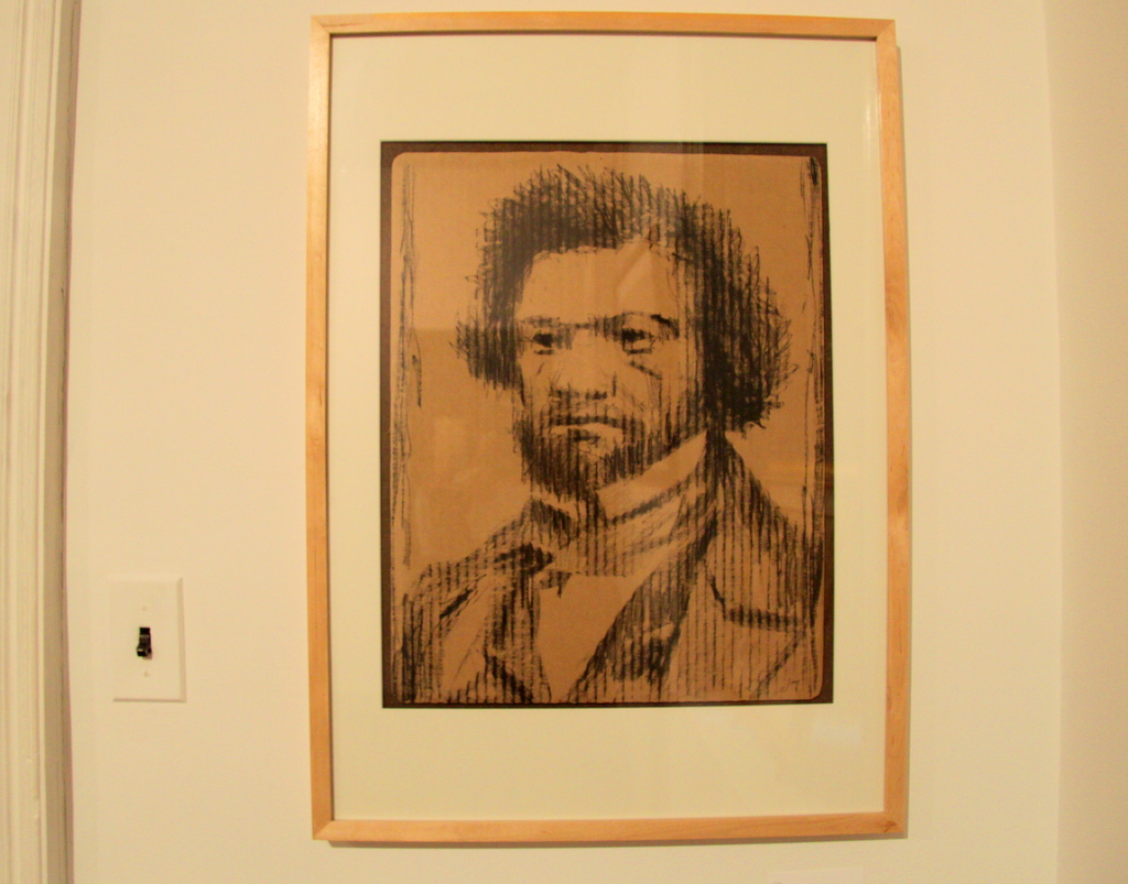 Portrait of Frederick Douglas, by Jamie Travers. (Photo by Fern Shen)