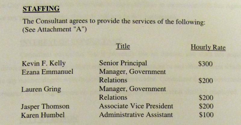 Breakdown of Van Scoyoc's lobbyist costs over the next two years.