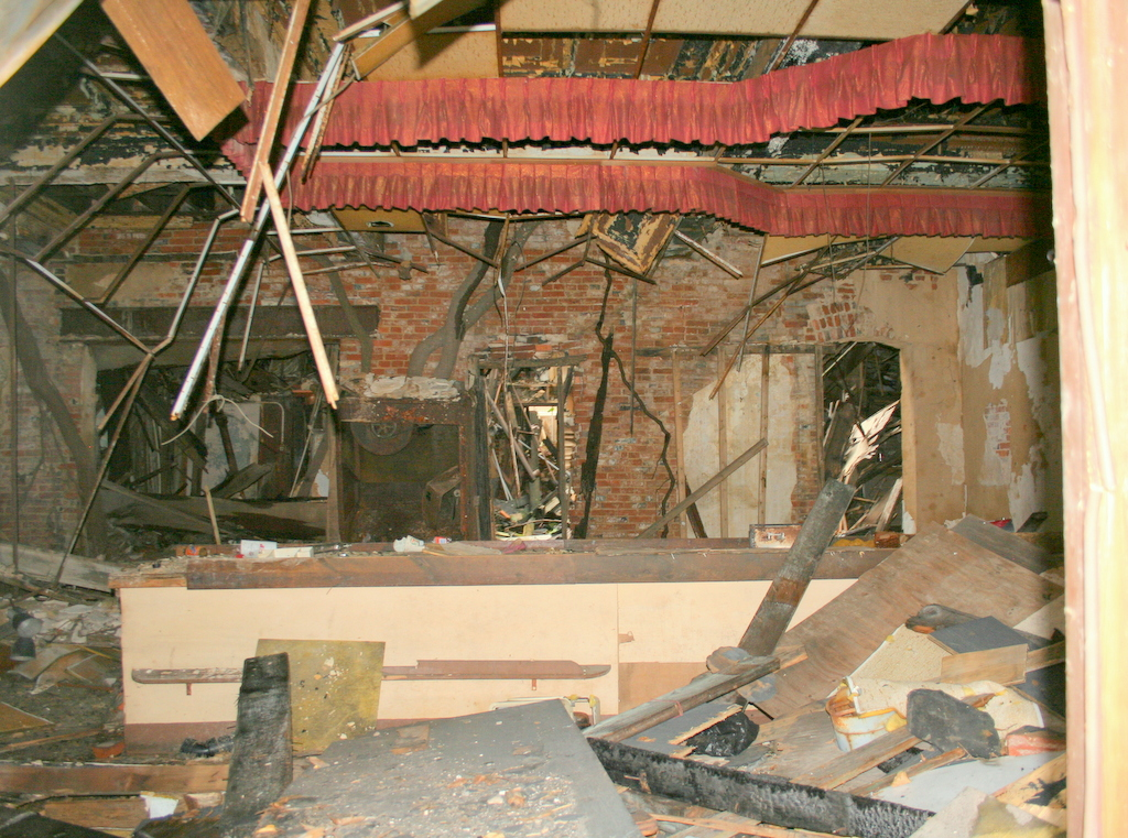 The burned-out interior of 300 W. Franklin. (Photo by Danielle Sweeney)