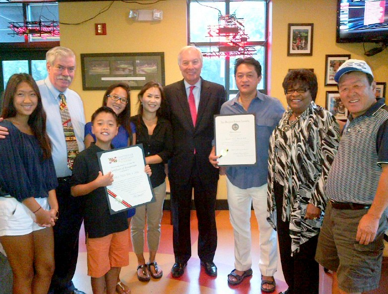 Comptroller Franchot with Councilman Curran, Delegate Robinson and owner Chil Chong and his family, Yun (Joyce), Amanda, Ashley and Max