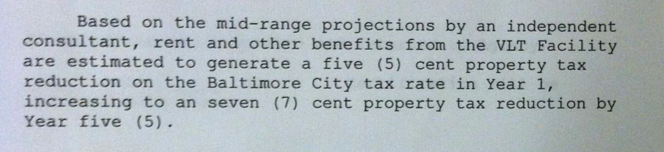 The city promised these future property tax reductions when the mayor and Board of Estimates approved the casino in October 2012. (Board of Estimates agenda)