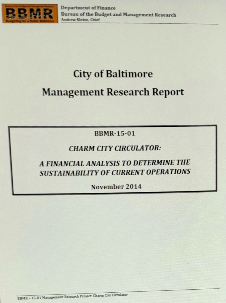 Cover page of report on Charm City Circulator released to The Brew, but not yet posted on the Bureau of Management Research or Finance Department websites.