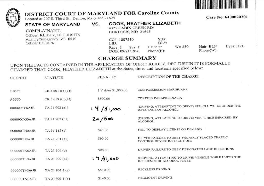 Source: Caroline County Sheriff's Office report on Heather Elizabeth Cook arrest 9/10/10..