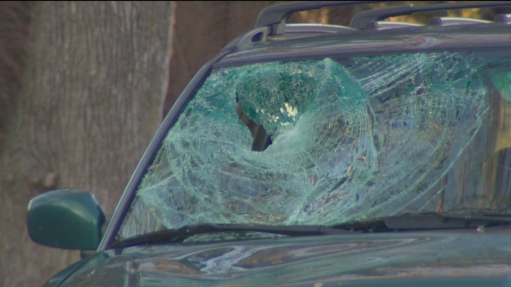 Smashed windshield of the car driven by Heather Cook that hit and killed Cyclist Tom Palermo. (Photo credit: WBAL TV11 News)