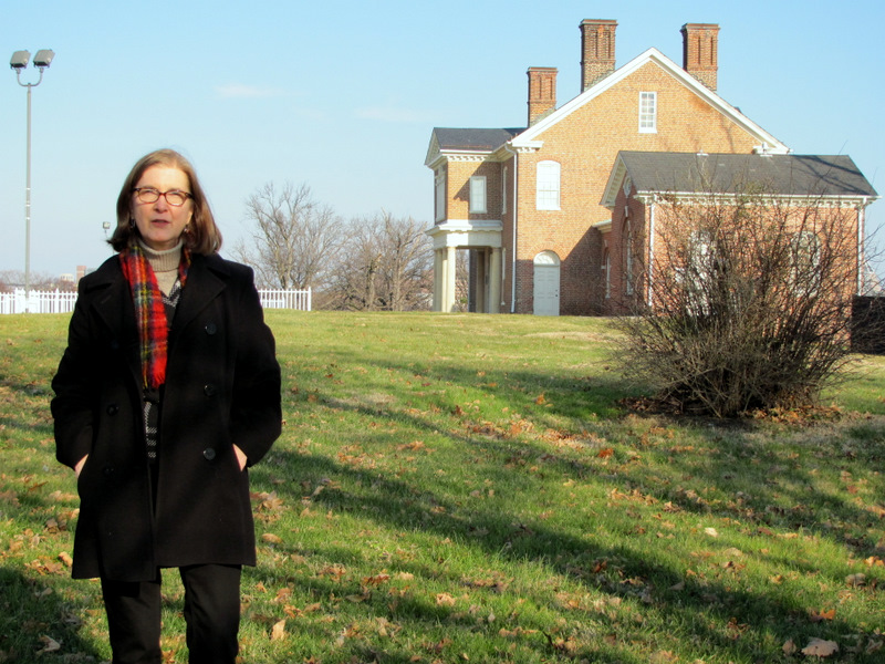 Pamela Charshee stands near the site of slave quarters at the Mt. Clare Mansion in Carroll Park. (Mark Reutter)