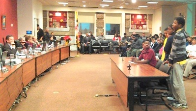 Students testify against school closures before the city school board. (Photo by Danielle Sweeney)