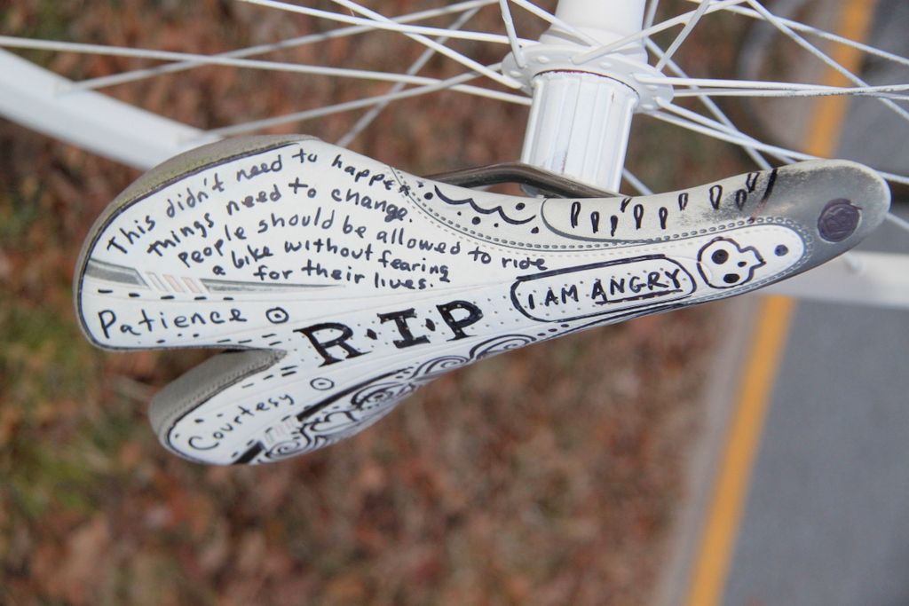 This bike-seat memorial to Palermo was in the median. (Photo by Fern Shen)