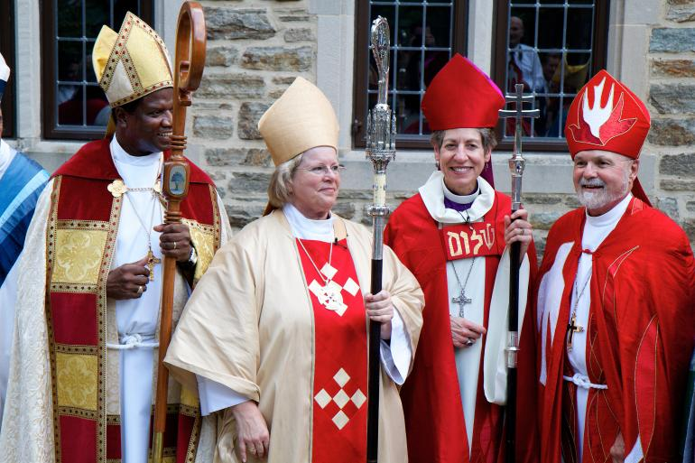 Bishop Heather Cook (second to left) at her ordination in Baltimore last September.