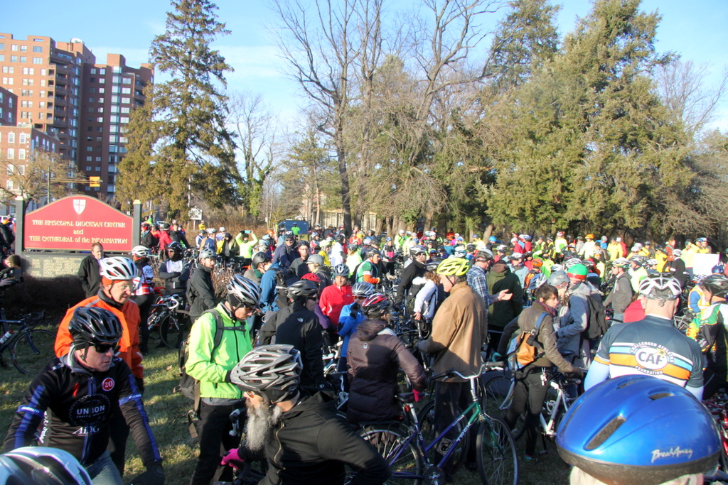 Riders gather at Bishop Square Park to begin the  ride. (Photo by Fern Shen)