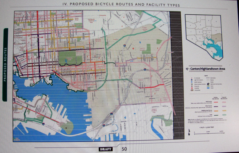 New bike lanes and bike trails in Canton and Locust Point, envisioned over the next 15 years by consultants for DOT. (Bike Master Plan)