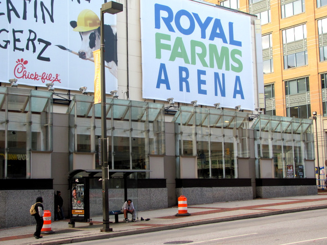 The city-owned downtown arena features a battery of billboard advertisements along its outer walls. This view is at Baltimore Street near Howard. (Photo by Mark Reutter)