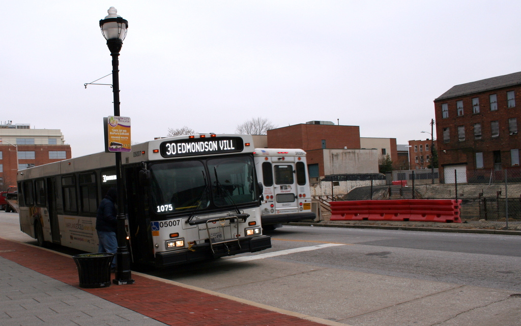 The Edmondson Village bus (30) passes through Southwest Baltimore.